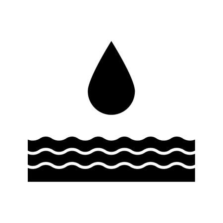 Water energy glyph icon. Hydropower. Hydroelectricity. Silhouette symbol. Negative space. Vector isolated illustration