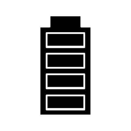 Fully charged battery glyph icon. Charge completed. Battery level indicator. Silhouette symbol. Negative space. Vector isolated illustration