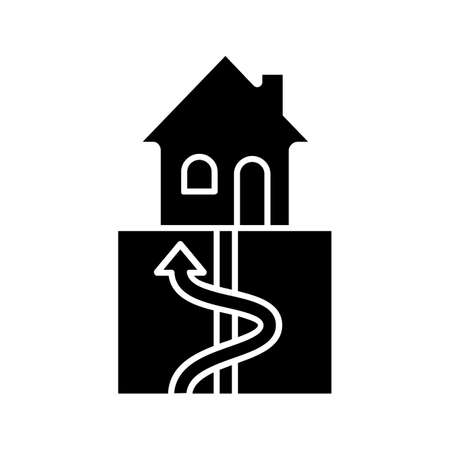 Geothermal energy glyph icon. Ground heat pump. Ecological house heating. Silhouette symbol. Negative space. Vector isolated illustration  イラスト・ベクター素材