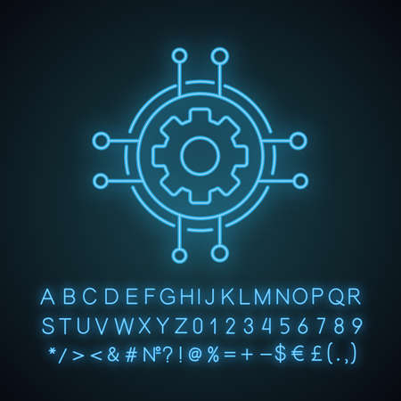 Digital settings neon light icon. Technological progress and innovation. Glowing sign with alphabet, numbers and symbols. Gear. Cogwheel in chipset pathways. Vector isolated illustration