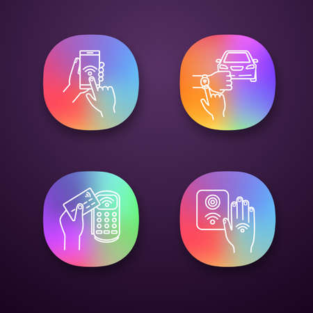 NFC technology app icons set. Near field smartphone, car and bracelet, payment terminal, reader. UI/UX user interface. Web or mobile applications. Vector isolated illustrations