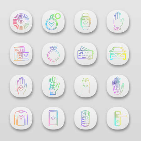 NFC technology app icons set. Near field communication. RFID and nfc tag, sticker, phone, trinket, ring, implant. UI/UX user interface. Web or mobile applications. Vector isolated illustrations Ilustração