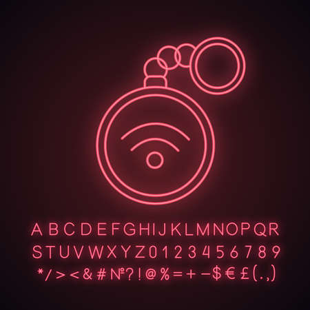 NFC trinket neon light icon. Near field communication. RFID tag. Contactless technology. Glowing sign with alphabet, numbers and symbols. Vector isolated illustration