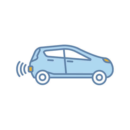 Smart car in side view color icon. NFC auto. Intelligent vehicle. Self driving automobile. Autonomous car. Driverless vehicle. Isolated vector illustration