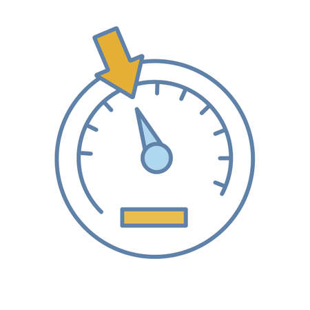 Speedometer color icon. Dashboard. Car instrument panel. Isolated vector illustration