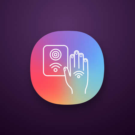 NFC reader app icon. RFID access control. UI/UX user interface. NFC button and hand sticker. Near field communication. RFID elevator controller. Web or mobile application. Vector isolated illustration