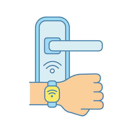 Door lock opened with NFC bracelet color icon. Near field communication padlock. RFID wristband. Contactless technology. Isolated vector illustration