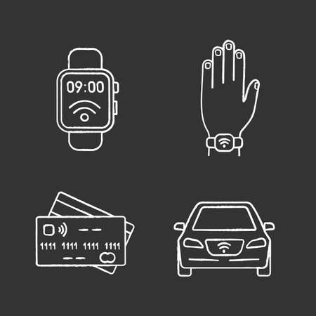 NFC technology chalk icons set. Near field smartwatch, bracelet, credit cards, car. Isolated vector chalkboard illustrations