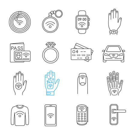 NFC technology linear icons set. Near field communication. RFID and nfc tag, sticker, phone, trinket, ring, implant. Thin line contour symbols. Isolated vector outline illustrations. Editable stroke