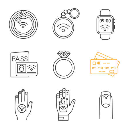 NFC technology linear icons set. Near field chip, trinket, smartwatch, identification system, ring, credit card, sticker, hand implant, manicure. Isolated vector outline illustrations. Editable stroke Ilustração