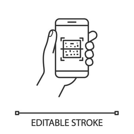 Icono lineal del escáner de smartphone de código QR. Ilustración de línea fina. Código de Respuesta Rápida. Aplicación de teléfono móvil de escaneo de códigos de barras Matrix. Símbolo de contorno. Dibujo de contorno aislado del vector. Trazo editable Foto de archivo - 107388119