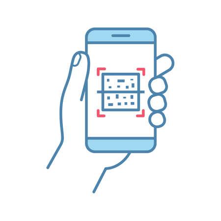 Ikona kolor skanera smartfona z kodem QR. Kod szybkiej odpowiedzi. Aplikacja mobilna do skanowania kodów kreskowych Matrix. Ilustracja na białym tle wektor