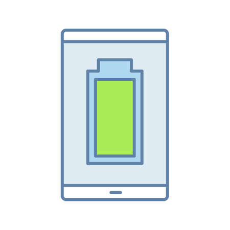 Fully charged smartphone battery color icon. Mobile phone charge completed. Battery level indicator. Isolated vector illustration Illusztráció