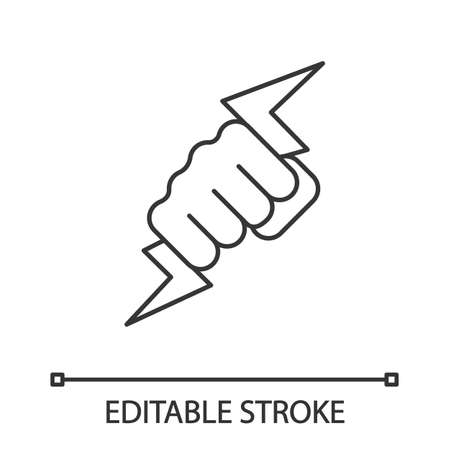 Hand holding lightning bolt linear icon. Power fist. Thin line illustration. Electric energy. Zeus hand. Contour symbol. Vector isolated outline drawing. Editable stroke