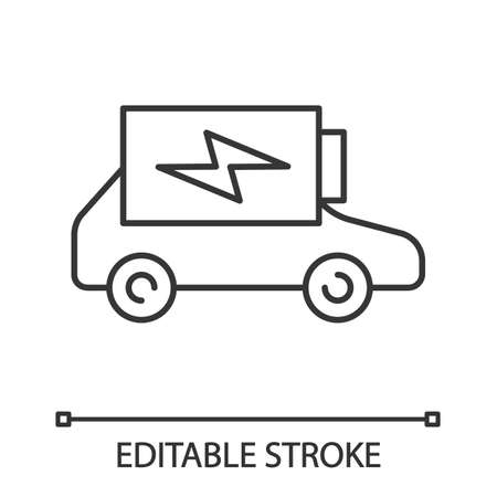 Electric car battery charging linear icon. Thin line illustration. Automobile battery level indicator. Eco friendly auto. Contour symbol. Vector isolated outline drawing. Editable stroke Vettoriali