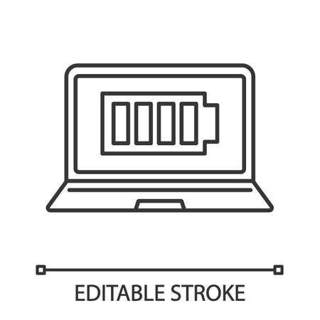 Fully charged laptop battery linear icon. Computer charge completed. Thin line illustration. Notebook battery level indicator. Contour symbol. Vector isolated outline drawing Illustration