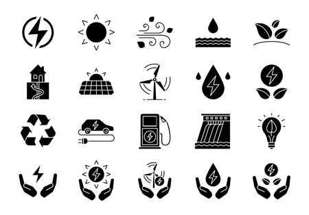 Glyphen-Symbole für alternative Energiequellen festgelegt. Öko-Kraft. Erneuerbare Ressourcen. Wasser, Sonne, Wärme, Windenergie. Silhouette Symbole. Vektor isolierte Illustration