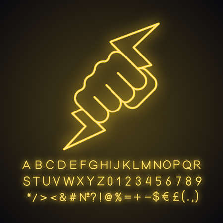 Hand holding lightning bolt neon light icon. Power fist. Electric energy. Zeus hand. Glowing sign with alphabet, numbers and symbols. Vector isolated illustration