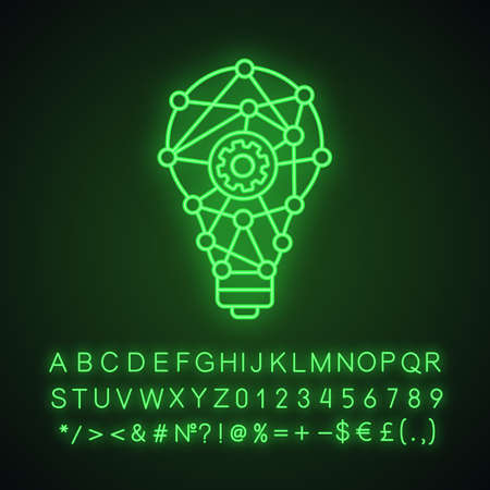 Innovation process neon light icon. Technological progress. Creative idea. Machine learning. Cogwheel inside light bulb. Glowing sign with alphabet, numbers and symbols. Vector isolated illustration Çizim