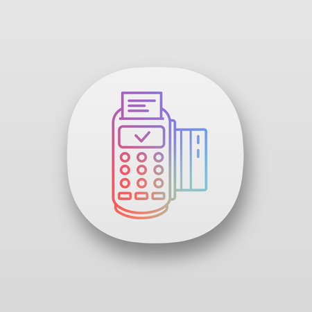 Successful POS terminal transaction app icon. UI/UX user interface. Payment terminal. E-payment. Web or mobile application. Vector isolated illustration