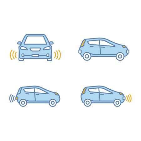 Smart cars color icons set. NFC autos. Intelligent vehicles.  Self driving automobiles. Autonomous cars. Driverless vehicles. Isolated vector illustrations