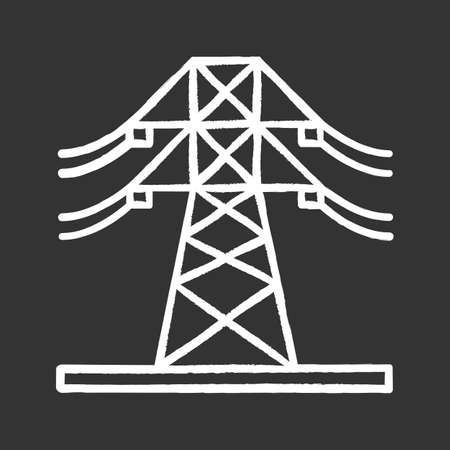 High voltage electric line chalk icon. Powerline. Electric power pylon. Transmission tower. Isolated vector chalkboard illustrations