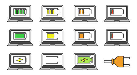 Laptop battery charging color icons set. Computer high, low, middle charge. Notebook battery level indicator. Isolated vector illustrations