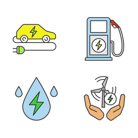 Electric energy color icons set. Alternative energetic resources. Eco car, water and wind energy, electric vehicle charging station. Isolated vector illustrations