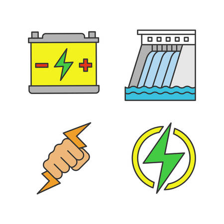 Electric energy color icons set. Accumulator, hydroelectric dam, power fist, lightning bolt. Isolated vector illustrations 向量圖像