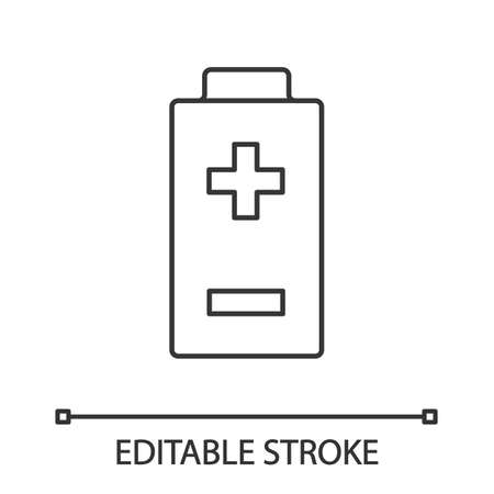 Battery with plus and minus signs linear icon. Thin line illustration. Charging. Battery level indicator. Contour symbol. Vector isolated outline drawing. Editable stroke