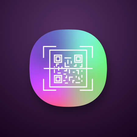 QR code scanner app icon. Quick response code. Matrix barcode scanning app. UIUX user interface. Web or mobile application. Vector isolated illustration
