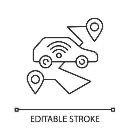 Self driving car linear icon. Smart navigation. Thin line illustration. Setting pickup and drop off locations. Driverless auto. Autonomous automobile. Vector isolated outline drawing. Editable stroke
