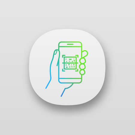 QR code smartphone scanner app icon. UIUX user interface. Quick response code. Matrix barcode scanning mobile phone app. Web or mobile application. Vector isolated illustration