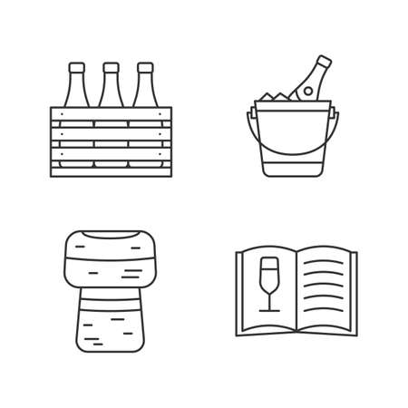 Alcohol linear icons set. Bar. Wine. Beer case, champagne bucket, cork, wine menu. Thin line contour symbols. Isolated vector outline illustrations. Editable stroke