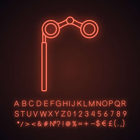 Opera glasses neon light icon. Theater binoculars. Glowing sign with alphabet, numbers and symbols. Vector isolated illustration