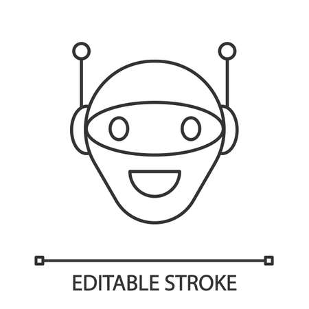 Chatbot linear icon. Thin line illustration. Talkbot. Modern robot.