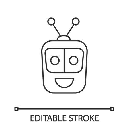 Chatbot linear icon. Thin line illustration. Modern robot. Square head laughing chat bot. Virtual assistant. Conversational agent. Contour symbol. Vector isolated outline drawing. Editable stroke