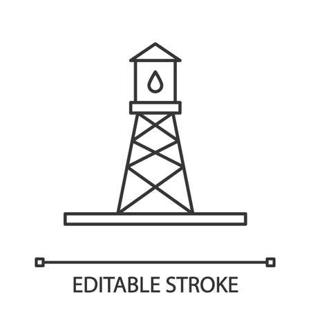 Oil rig linear icon. Thin line illustration. Oil derrick. Contour symbol. Vector isolated outline drawing. Editable stroke