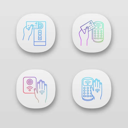 NFC technology app icons set. Near field access control, credit card reader, payment terminal, hand sticker. UIUX user interface. Web or mobile applications. Vector isolated illustrations 向量圖像