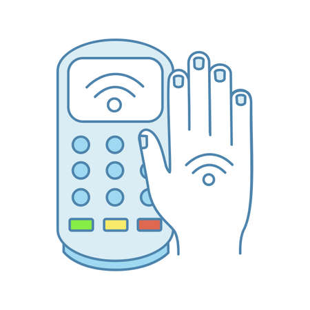 NFC payment terminal color icon. Payment with NFC sticker. POS terminal and hand with RFID tag. Contactless transaction. Near field communication. E-payment. Isolated vector illustration Illustration