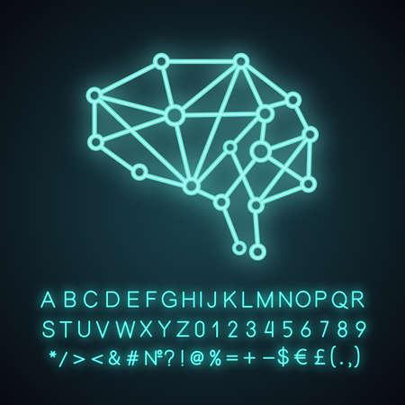 Ikona światła neonowego sztucznej inteligencji. Sieć neuronowa. Cyfrowy mózg. Neurotechnologia. Świecący znak z alfabetem, cyframi i symbolami. Ilustracja wektorowa na białym tle Ilustracje wektorowe