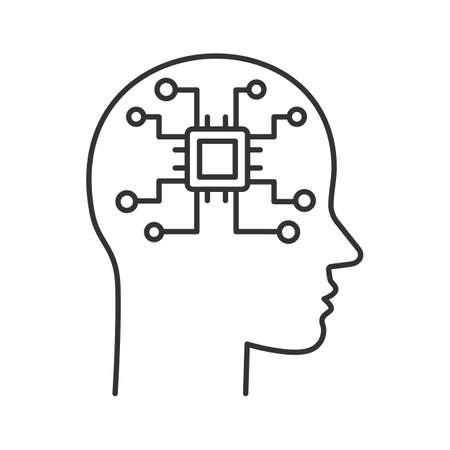 Icône linéaire de l'intelligence artificielle. Robot. Tête humaine avec réseau numérique à puce. Illustration de fine ligne. Robotique. Symbole de contour. Dessin de contour isolé de vecteur. Trait modifiable Vecteurs