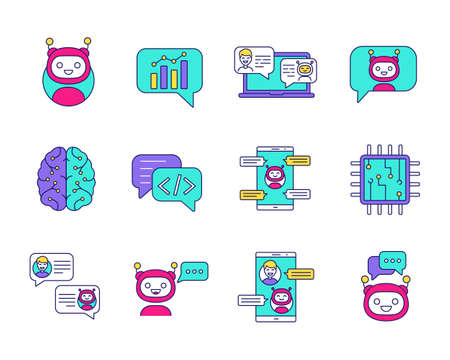 Chatbot color icons set. Chat bots. Talkbots. Virtual assistants. Support, chat, code, messenger bots. Online helpers. Isolated vector illustrations