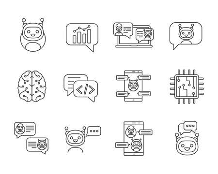 Chatbot linear icons set. Thin line contour symbols. Chat bots. Talkbot. Virtual assistants. Support, chat, code, messenger bots. Online helpers. Isolated vector outline illustrations. Editable stroke