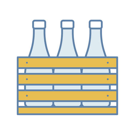 Beer case color icon. Wine or champagne bottles in wooden crate. Milk bottles in wooden box. Isolated vector illustration