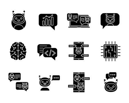 Chatbots glyph icons set. Silhouette symbols. Chat bots. Talkbots. Virtual assistants. Support, chat, code, messenger bots. Online helpers. Vector isolated illustration Illusztráció