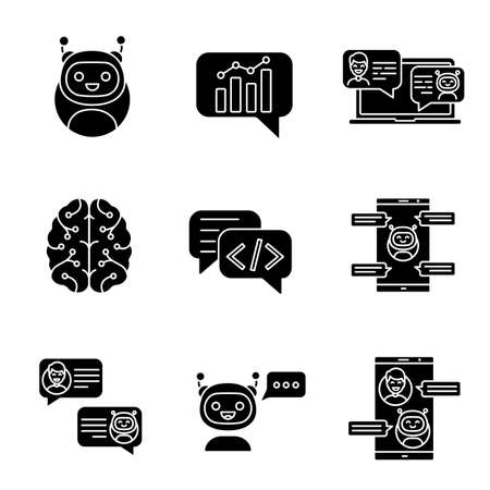 Chatbots glyph icons set. Silhouette symbols. Talkbots. Graph, support, code, messenger, chat bots. Modern robots. Chatterbots. Virtual assistants. Vector isolated illustration