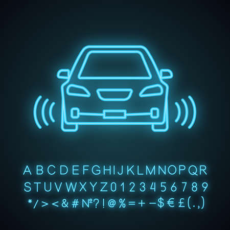 Smart car in front view neon light icon. NFC auto with radar sensors. Glowing sign with alphabet, numbers and symbols. Self driving automobile. Autonomous car. Vector isolated illustration Illustration