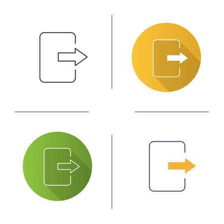 Exit button icon. Log out. Send file. Flat design, linear and color styles. Isolated vector illustrations