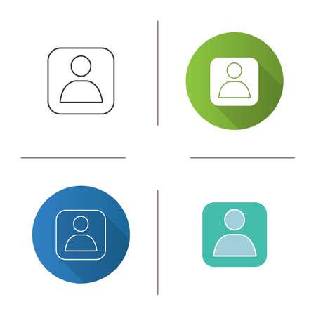 Icône de boîte de compte d'utilisateur. Profil. Design plat, styles linéaires et couleurs. Illustrations vectorielles isolées